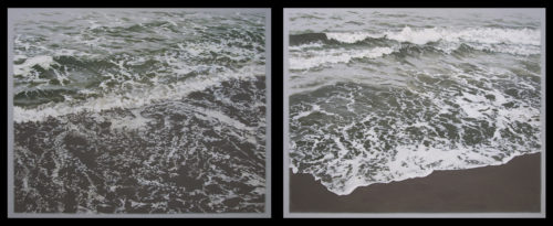 Luke Butler<br><i>Scene III</i>, 2015<br>Acrylic on canvas<br>diptych, 24 x 68 inches total<br> <br>