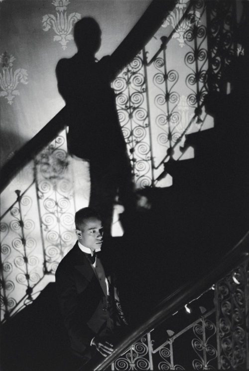 <i>Film Noir Staircase (Looking for Langston Vintage Series)</i>, 1989/2016<br>Ilford classic silver gelatin fine art paper, mounted on aluminum and framed<br>30 x 22 inches / 76.2 x 57 cm<br> <br>
