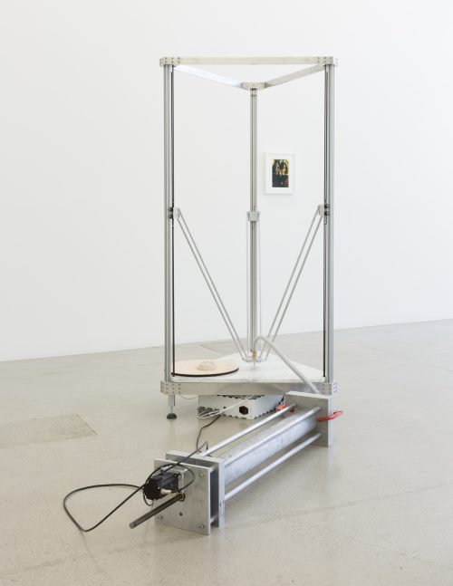 Matthew Angelo Harrison <br> <i>The Consequence of Platforms</i>, 2016<br> Aluminum, stainless steel, ceramic, marble<br> 75 x 33.5 x 33.5 inches / 190.5 x 85.1 x 85.1 cm