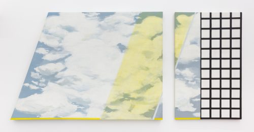 <i> Yellow Filter: Diptych</i>, 1966<br> Acrylic on shaped canvas<br> 45.25 x 98.4 inches / 115 x 250 cm
