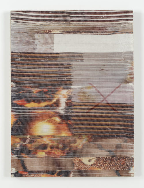 <i>Late</i><br>Handwoven polyester, linen, dye sublimation ink, acrylic paint, linen support.<br>38 x 28 inches <br>  2016