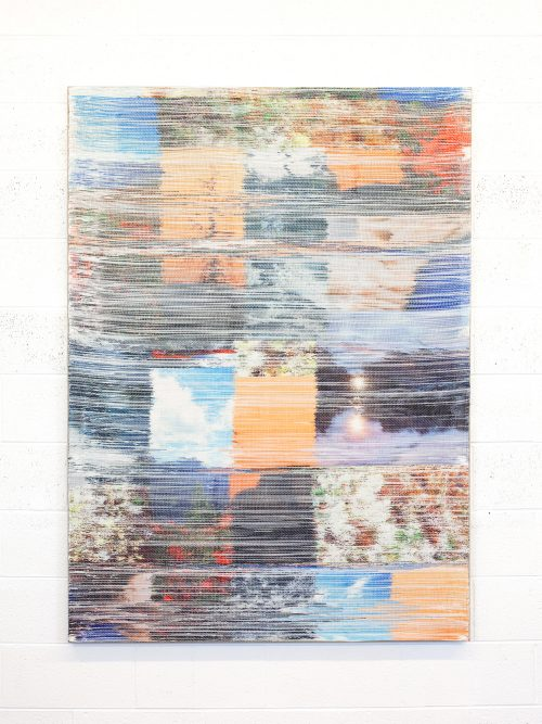 <i>October Surprise I </i> <br /> Hand woven polyester, linen, dye sublimation ink <br /> 65 x 47 inches<br /> 2016