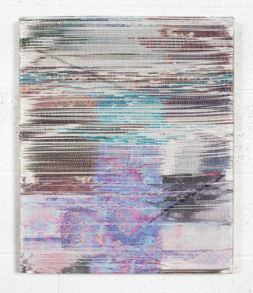 <i>Piecemeal</i><br> Handwoven polymer, linen, sublimation dye, acrylic ink<br> 24 x 20 inches<br> 2017
