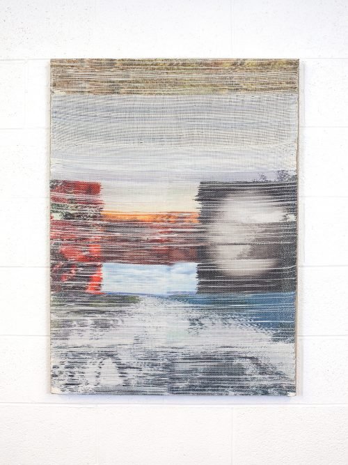<i>Reset </i> <br /> Hand woven polyester, linen, dye sublimation ink<br /> 38 x 28 inches<br /> 2016