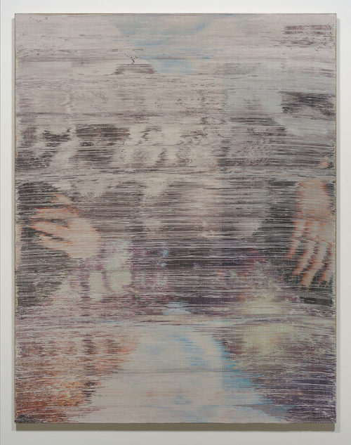 <i>Somewhere Shortly After</i><br>Handwoven polyester, cotton, linen, dye-sublimation ink, fabric dye<br>70 x 55 inches <br>  2014