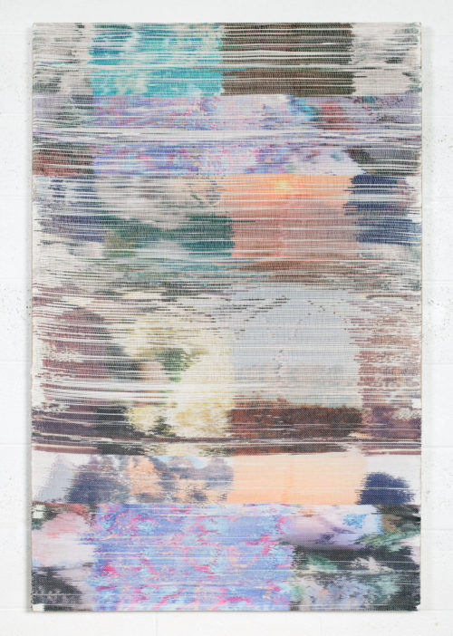 <i>Super Tuesday II</i><br> Handwoven polymer, linen, sublimation dye<br> 56 x 37 inches<br> 2017