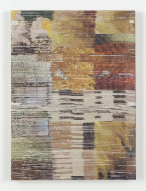 <i>Plain sight I</i><br>Handwoven polyester, linen, sublimation dye, acrylic paint, linen support<br>38 x 28 inches <br>  2016