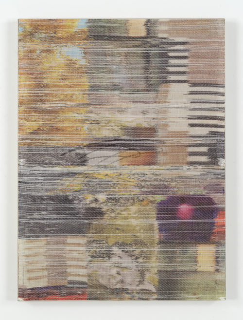 <i>Plain sight II</i><br>Handwoven polyester, linen, sublimation dye, acrylic paint, linen support<br>38 x 28 inches <br>  2016