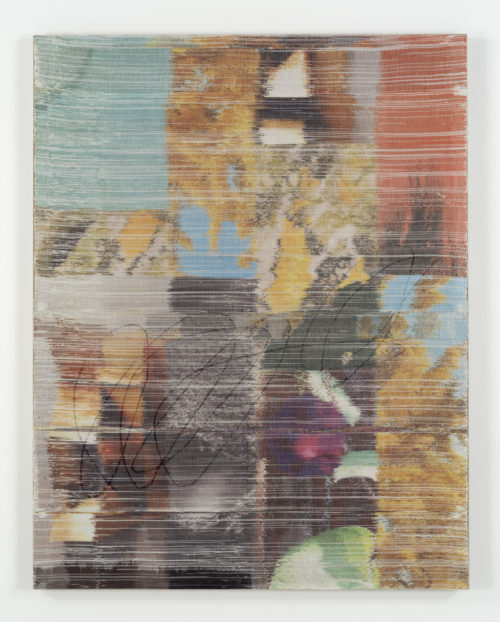 <i>Selfobject</i><br>Handwoven polyester, linen, sublimation dye, acrylic paint, linen support<br>60 x 47 inches <br>  2016
