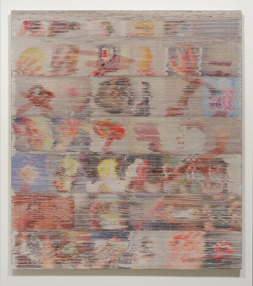 <i>Time and Time, Again</i><br>Handwoven polyester, cotton, linen, dye-sublimation ink, fabric dye<br>52 x 45 inches <br>  2014