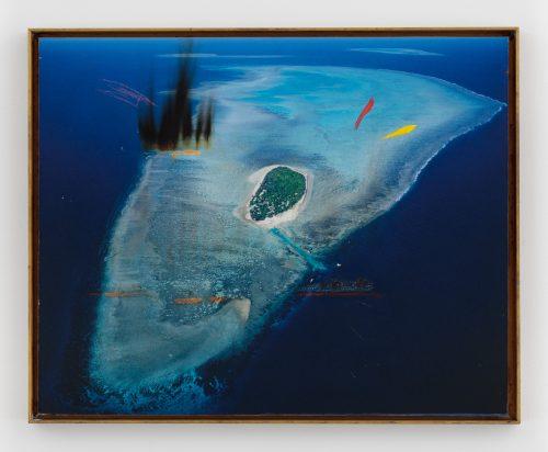 <b>Harold Ancart</b><br><i>Untitled</i><br>Burnt c-print, oil stick, dibond, wood, bronze frame<br>16 3⁄4 x 20 1⁄2 inches <br>2016