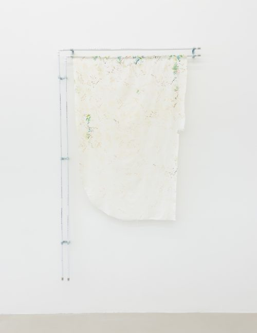 Mia Goyette <br> <i>Sunscreen (Palm Fronds) </i><br> Bleached cotton textile, PVC pipes and fittings<br> Textile: 38.2 x 49.21 inches  <br> Pipes: 78.74 x 53.15 inches <br> 2016
