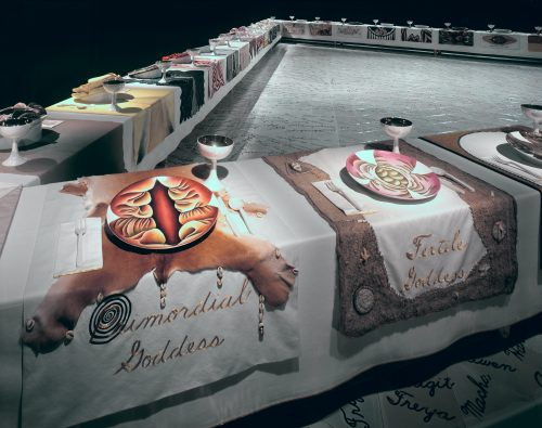 <i>Installation view of Wing One, featuring Primordial Goddess and Fertile Goddess place settings</i> from The Dinner Party<br> 1974 - 1979<br> Elizabeth A. Sackler Center for Feminist Art, Collection of the Brooklyn Museum. © Judy Chicago
