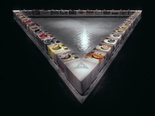 <i>The Dinner Party</i><br>mixed media<br> 42 x 48 x 3 ft<br> 1974 - 1979<br> Elizabeth A. Sackler Center for Feminist Art, Collection of the Brooklyn Museum. © Judy Chicago