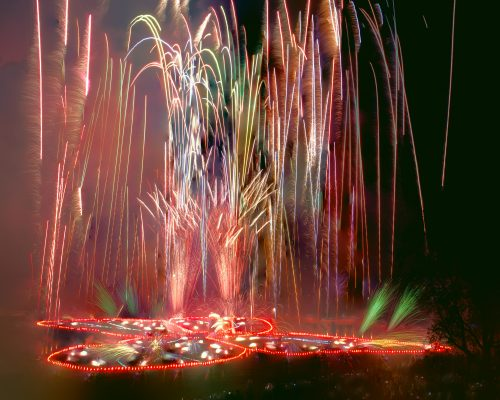 <i>A Butterfly for Brooklyn</i><br> fireworks, flares and LED lights<br> Prospect Park, Brooklyn, NY<br> 2014<br> © Judy Chicago and PyroSpectaculars