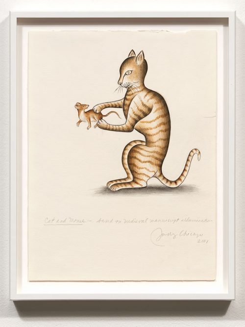 <i>Cat and Mouse, based on Medieval manuscript illumination for Marginalia Illumination</i><br> Watercolor on Fabriano<br> 13 3/4 x 10 3/4 inches<br> 2001