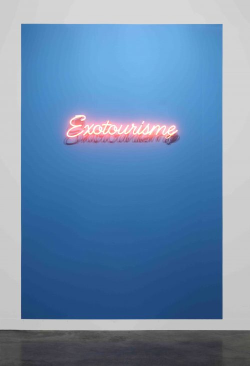 Dominique Gonzalez-Foerster<br><i> Exotourisme</i>, 2012<br> Neon, blue paint<br> 7.75 x 40.25 x 2.5 inches / 19.7 x 102.2 x 6.4 cm  With wall paint: 118 x 78 3/4 inches / 299.7 x 200 cm
