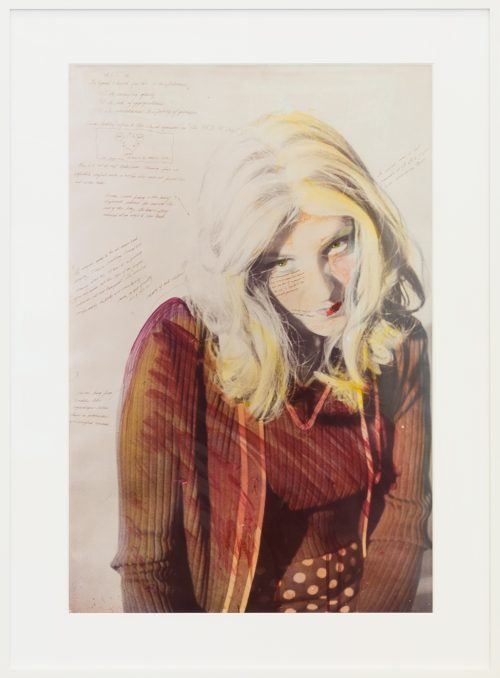Lynn Hershman Leeson<br><i>Roberta's Physical Stance</i>, 1976<br> Edition 2 of 5<br> C-print with acrylic pen and pencil<br> Framed size: 49.1 x 38.1 inches / 124.7 x 96.8 cm