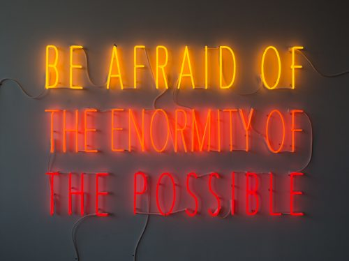 Alfredo Jaar<br><i> Be Afraid of the Enormity of the Possible</i>, 2015<br> Neon<br> 47.5 x 72 inches / 120.7 x 182.9 cm