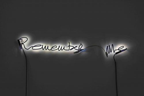 Steve McQueen<br><i> Remember Me</i>, 2016<br> Acrylic paint on neon borosilicate tubes<br> 5 x 39.4 inches / 12.7 x 100 cm