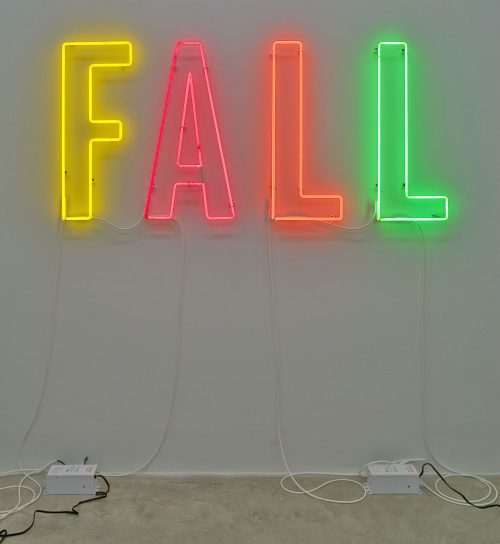 Jonathan Monk<br><i>Fall</i>, 2011<br> Neon<br> 36 x 78.5 inches / 91.4 x 199.4 cm