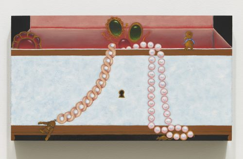 Alexandra Noel<br><i> Trinkets and Gems</i>, 2016<br> Oil and enamel on panel<br> 7.75 x 13.75 inches / 19.7 x 35 cm