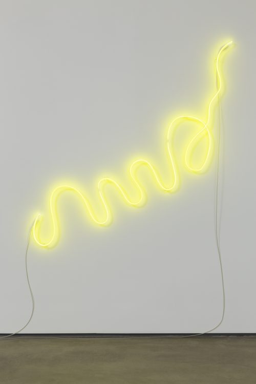 Mai-Thu Perret<br><i> Uncle Toby (Yellow)</i>, 2015<br> Neon<br> 59.1 x 59.1 x 1.75 inches / 150 x 150 x 4.4 cm