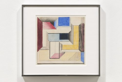 Suzanne Blank Redstone<br><i>Drawing for Construction #4</i>, 1968<br>Paper, tracing paper, pencil and color pencil<br>10.25 x 11.25 inches / 26 x 28.6 cm