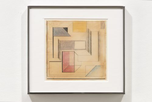 Suzanne Blank Redstone<br><i>Drawing for Construction #5</i>, 1968<br>Paper, tracing paper, pencil and color pencil<br>10.25 x 11.25 inches / 26 x 28.6 cm
