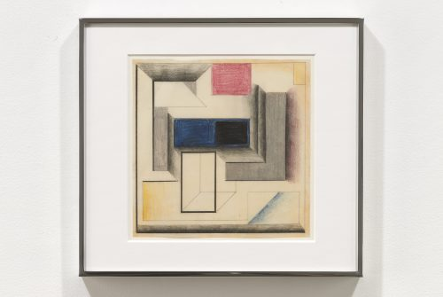 Suzanne Blank Redstone<br><i>Drawing for Construction #7</i>, 1968<br>Paper, tracing paper, pencil and color pencil<br>10.25 x 11.25 inches / 26 x 28.6 cm