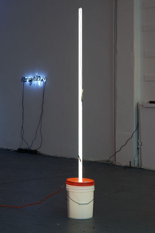 Jason Rhoades<br><i> Light</i>, 1997<br> Plastic bucket, fluorescent tubing, electrical wiring, and fluorescent light fixture<br>  Height: 96 inches / 243.8 cm, width variable