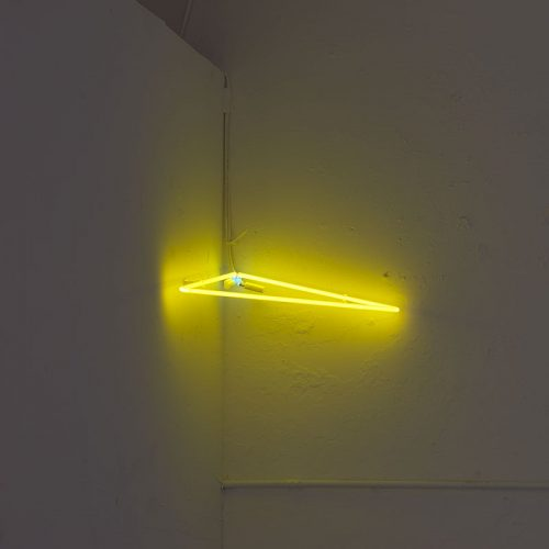 Ana Roldán<br><i> Pyramid (yellow)</i>, 2011<br> Neon tube<br> 30.7 x 21.7 inches / 78 x 55 cm, height variable