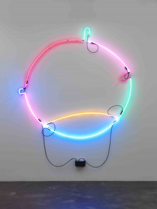 Keith Sonnier<br><i> Circle Portal A</i>, 2015<br> Neon, wire and transformer<br> 80 x 78 x 13 inches / 203.2 x 198.1 x 33 cm