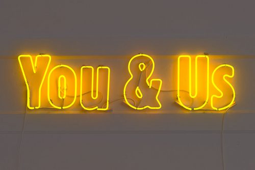 Ron Terada<br><i> You & Us</i>, 2006<br> Neon<br> 13 x 52 inches / 33 x 132 cm