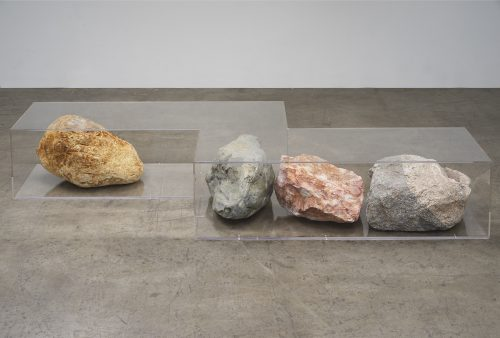 Nicole Wermers<br><i>Untitled (bench)</i>, 2016<br>Plexiglas, rocks<br>15.2 x 122 x 34 inches / 38.4 x 209.9 x 86.4 cm