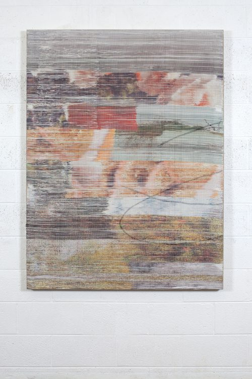 Margo Wolowiec<br><i>Floodwater I</i>, 2016<br>Handwoven polyester, linen, dye sublimation ink, acrylic dye<br>62 x 47 inches / 157.5 x 119.4cm
