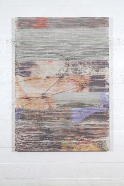 Margo Wolowiec<br><i>Floodwater II</i>, 2016<br>Handwoven polyester, linen, dye sublimation ink, acrylic dye<br>62 x 47 inches / 157.5 x 119.4cm