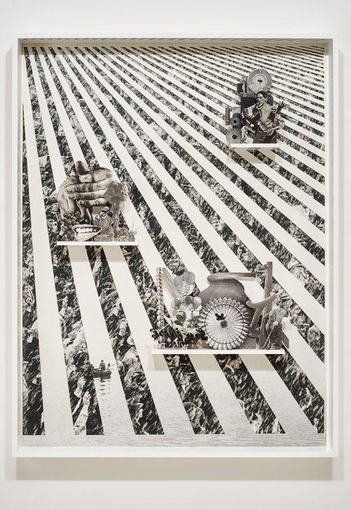 Matt Lipps<br><i> Uneasy</i>, 2016<br> Archival pigment print, mixed media, artist's frame<br> 57.6 x 44.2 x 4 inches / 146.2 x 112.1 x 10.2 cm
