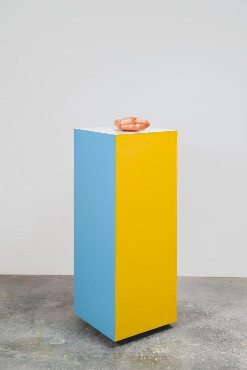 Nevine Mahmoud<br><i> Putte II</i>, 2016<br> Alabaster, laminate rectangle<br> Sculpture: 11 x 7 inches / 28 x 18 cm<br> Pedestal: 18 x 18 x 46 inches / 45.75 x 45.75 x 117 cm