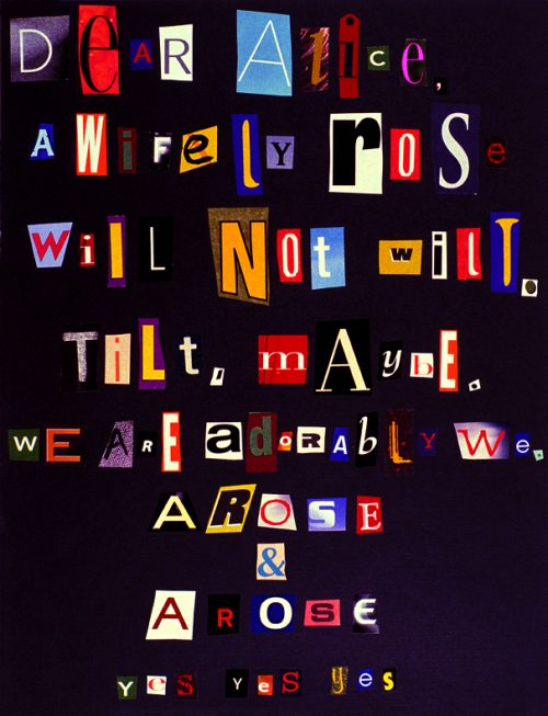 Tammy Rae Carland<br><i> Dear Alice</i>, 2003<br> Edition of 3<br> Iris print<br> Framed size: 16.25 x 13.25 inches / 41.3 x 33.7 cm
