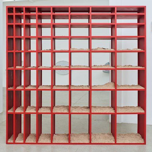 <i>Sand Shelf #1</i>, 2017<br> Powdercoated steel, kinetic sand<br> 91.4 x 91.4 x 16 inches / 232.2 x 232.2 x 40.6 cm