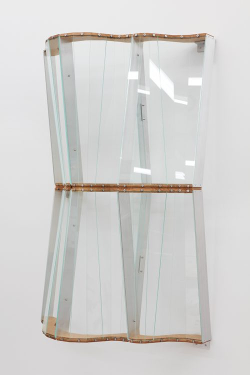 Julian Hoeber<br> <i> Wall Widow</i>, 2016<br> 3030 Plexiglass, White oak, Aluminum, neoprene, shellac, hardware<br> 52 1/2  x 32 5/16 x 15 inches / 133.35 x 82.07 x 38.1 cm