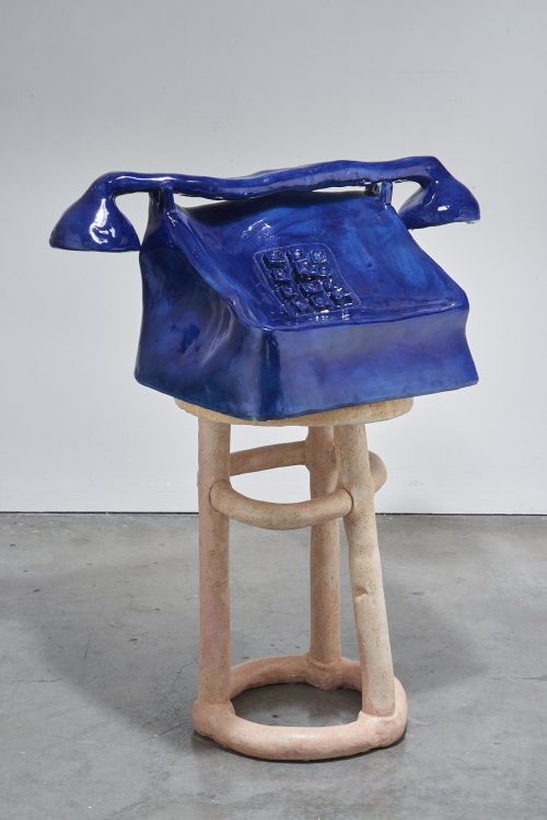 Woody Othello <br/><i>I Can See You But I Dont Hear You </i> <br /> Ceramic, underglaze, glaze <br /> 42 x 32 x 20  inches<br /> 2016