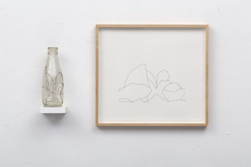 Amikam Toren <br/><i>Simple Fraction XI </i> <br /> Glass, araldite, shelf, drawing <br /> 14 1/8 x 25 3/16 x 3 1/2 inches<br /> 1975