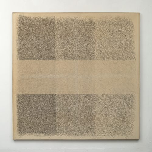 Amikam Toren <br/><i>Untitled With a Horizontal Thread Removed 02 </i> <br /> Emulsion on canvas <br /> 69 x 69 inches<br /> 1973