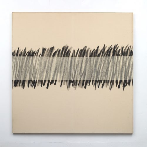 Amikam Toren <br/> <i>Untitled With a Horizontal Thread Removed 05 </i> <br />  Emulsion on canvas <br />  67 x 67 inches<br />  1973