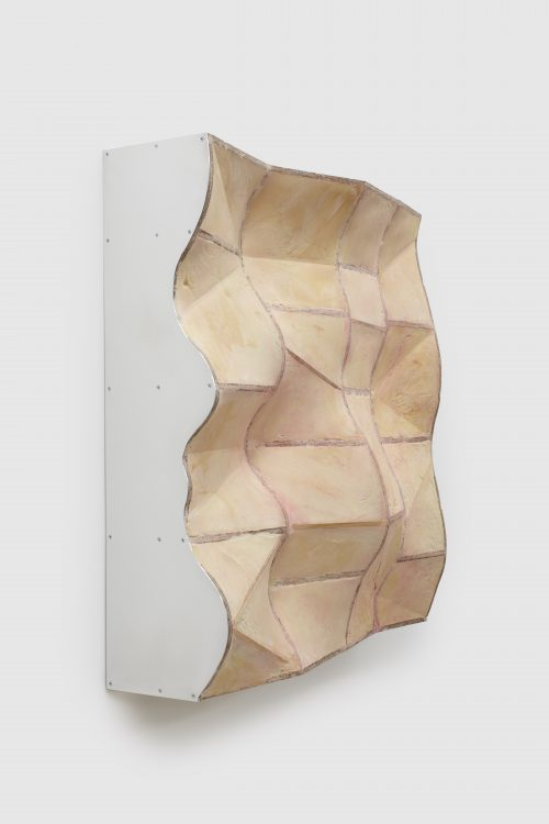 Julian Hoeber<br> <i>Irregular Tension Structure (Negative Space)</i>, 2016<br>Urethane foam, oriented strand board, aluminum, plaster, pigment and hardware<br>37 x 36 1/4 x 12 in / 94 x 92.1 x 30.5 cm
