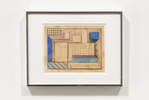 Suzanne Blank Redstone<br> <i>Drawing for Portal 1</i>, 1967<br>Paper, tracing paper, pencil and color pencil<br>8 3/4 x 11 1/4 in / 22.23 x 28.6 cm