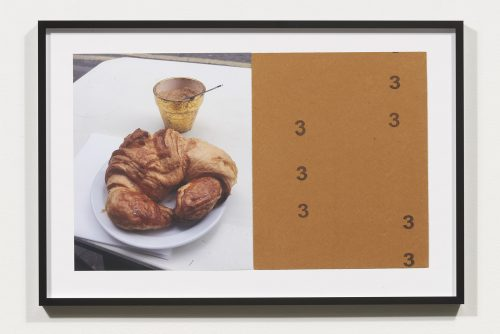 <i>Croissants & Architecture #12</i>, 2016<br> Edition 1/2<br> C-print, sandpaper sheet, framed<br> 14.4 x 21.5 inches / 36.5 x 54.6 cm