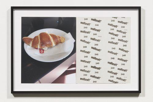 <i>Croissants & Architecture #16</i>, 2016<br> Edition 1/2<br> C-print, sandpaper sheet, framed<br> 14.4 x 21.5 inches / 36.5 x 54.6 cm